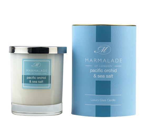 pacific orchid and sea salt candle in glass jar