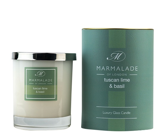 tuscan lime basil candle in glass jar