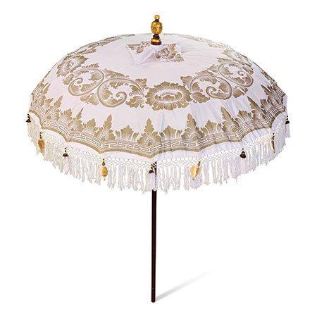 bali sun parasol white and gold open