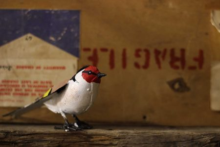 recycled metal bird goldfinch