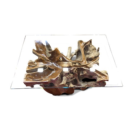 lombok glass and root coffee table