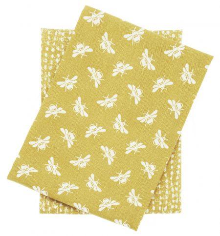 bee tea towel set in ochre