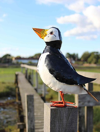 recycled metal bird puffin