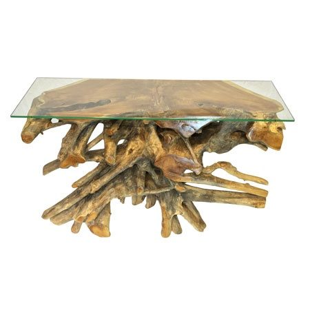 root glass console table