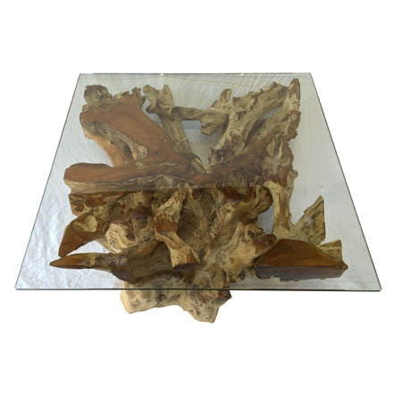 teak root and glass coffee table