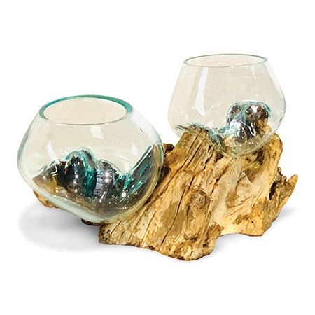 molten glass and root display bowl double