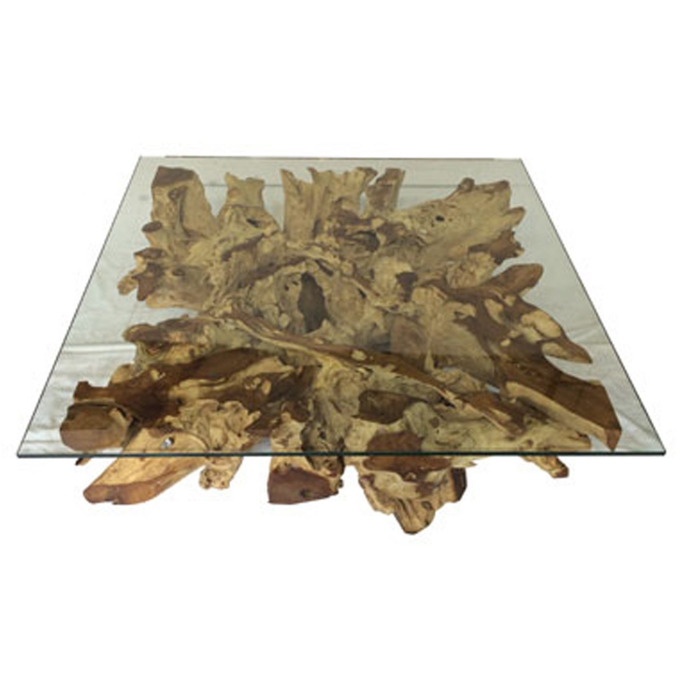 teak spider stone root and glass coffee table