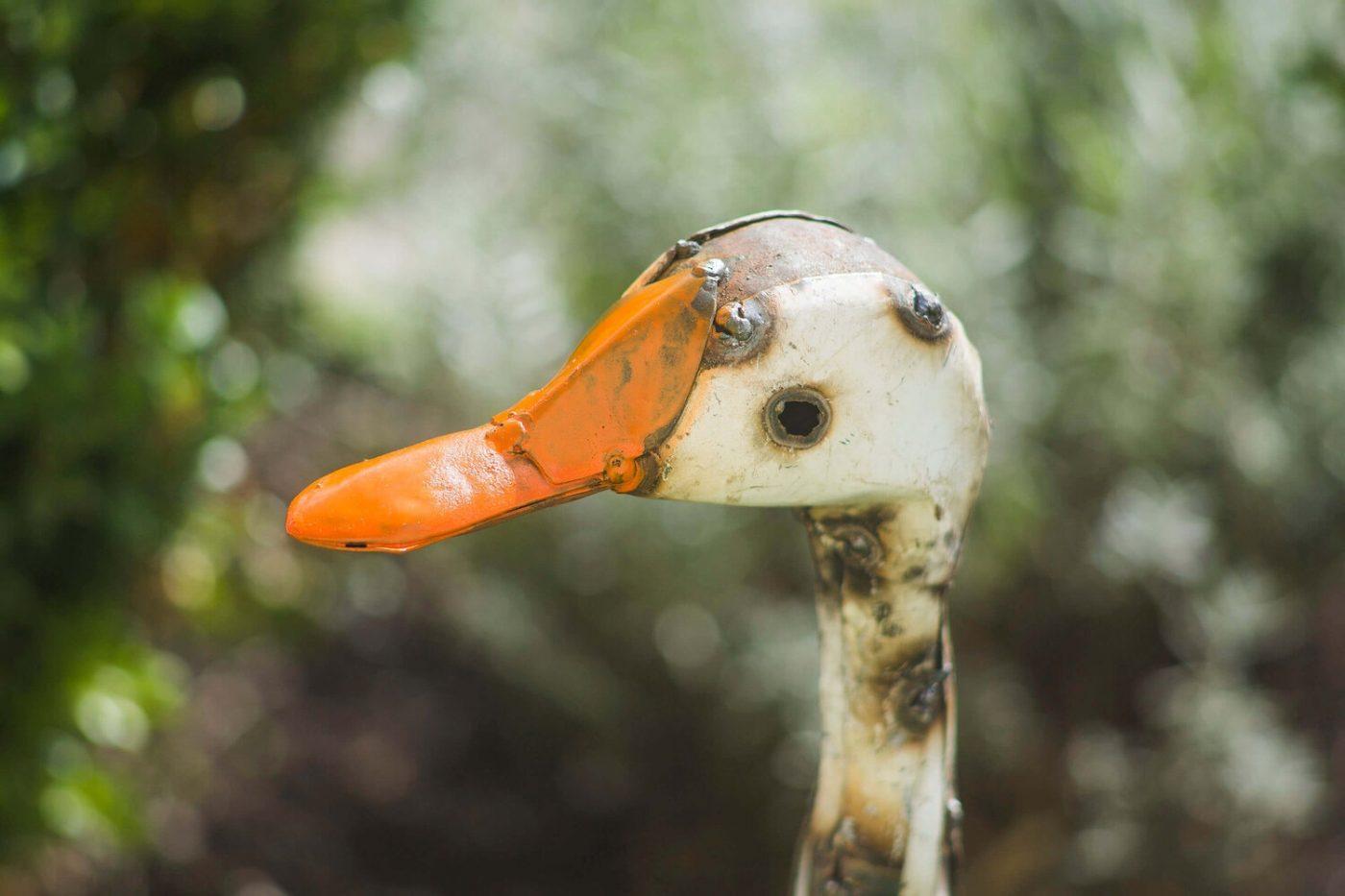 recycled metal bird Goose close up