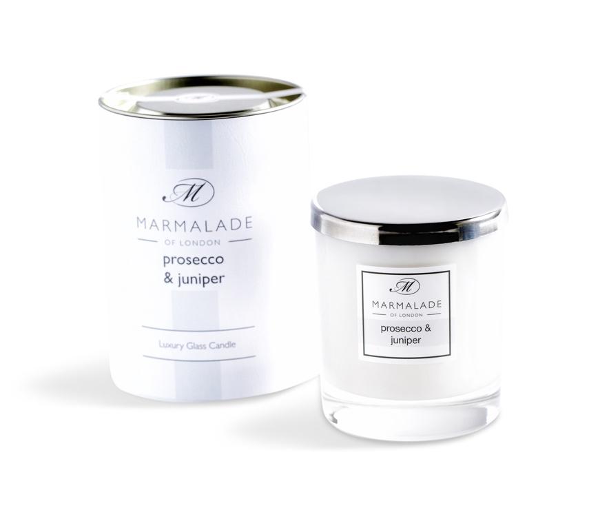 prosecco juniper candle in glass jar