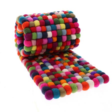 multi colour felt ball table runner