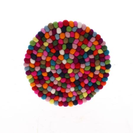 multi coloured felt ball placemat