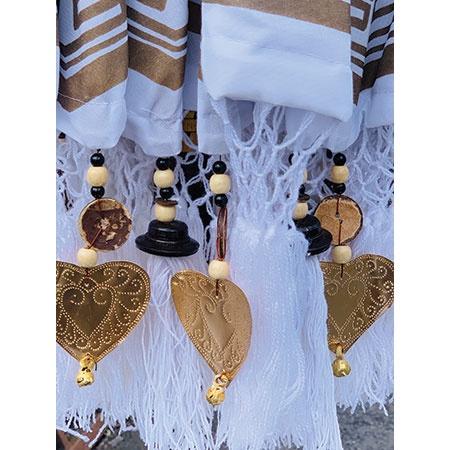 bali sun parasol white and gold fringe