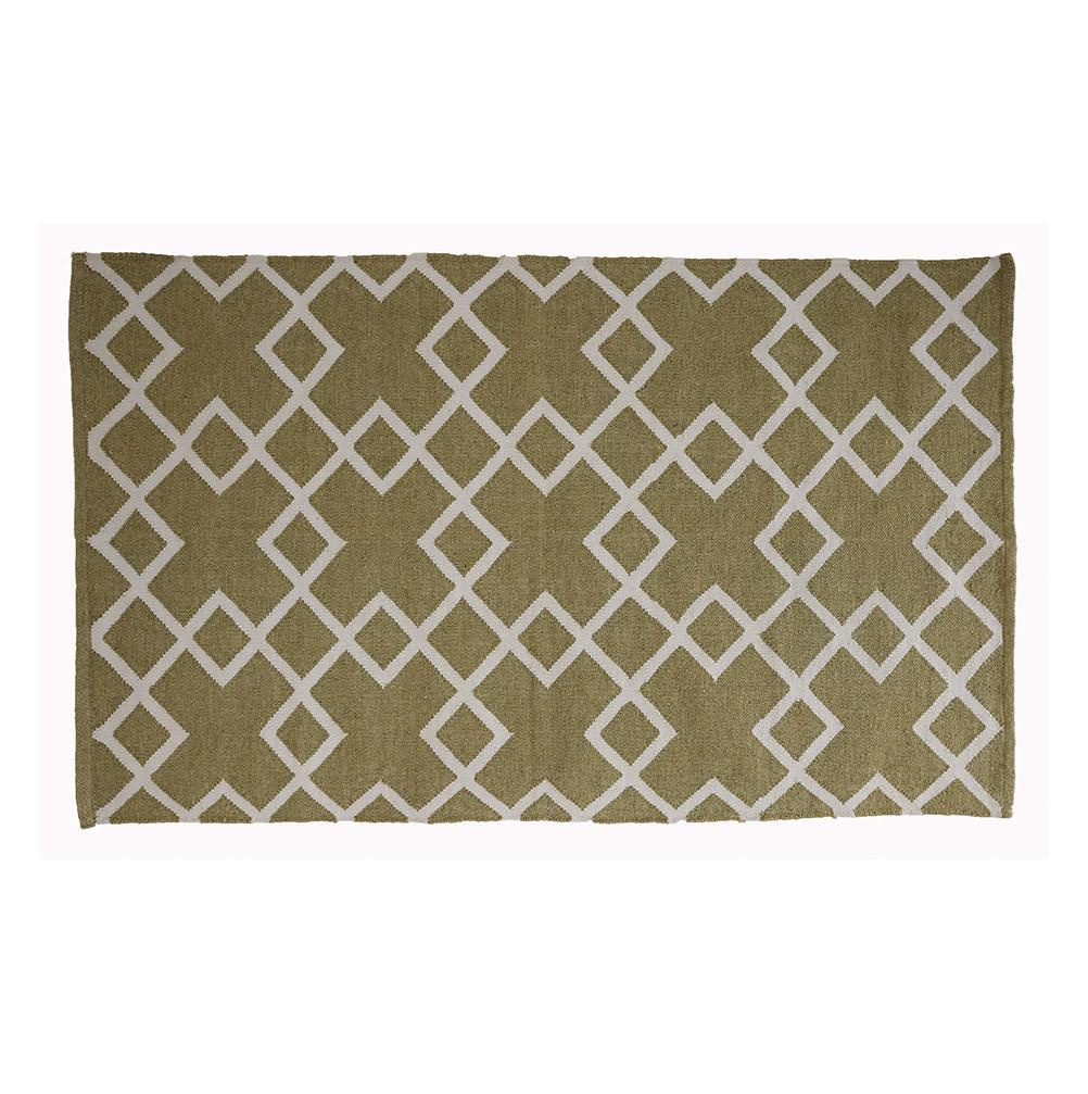 rug made from recycled bottles, lichen geometric patterned