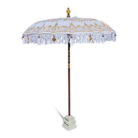 bali sun parasol white and gold open with base