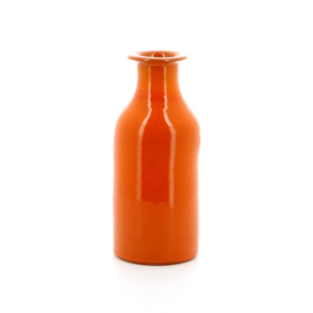 milk bottle shaped pottery orange vase