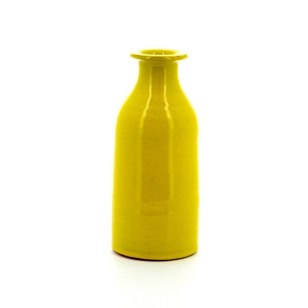 yellow vase milk bottle shape rustic pottery