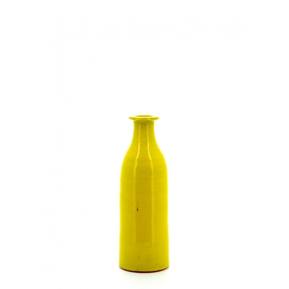 Milk bottle shaped vase yellow