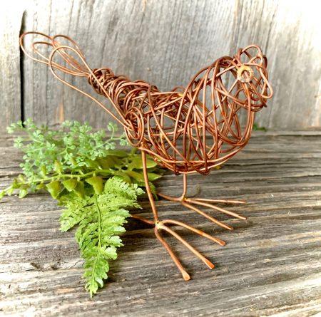 Copper wire bird sculpture