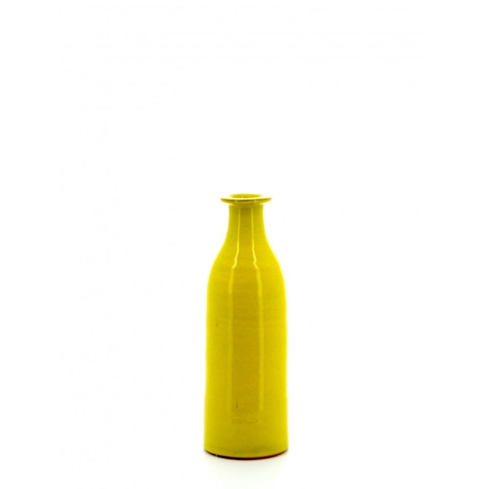 milk bottle shaped yellow rustic pottery vase