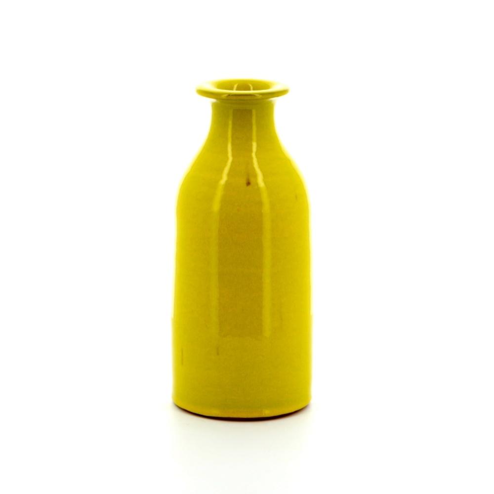 rustic pottery yellow milk bottle shaped vase