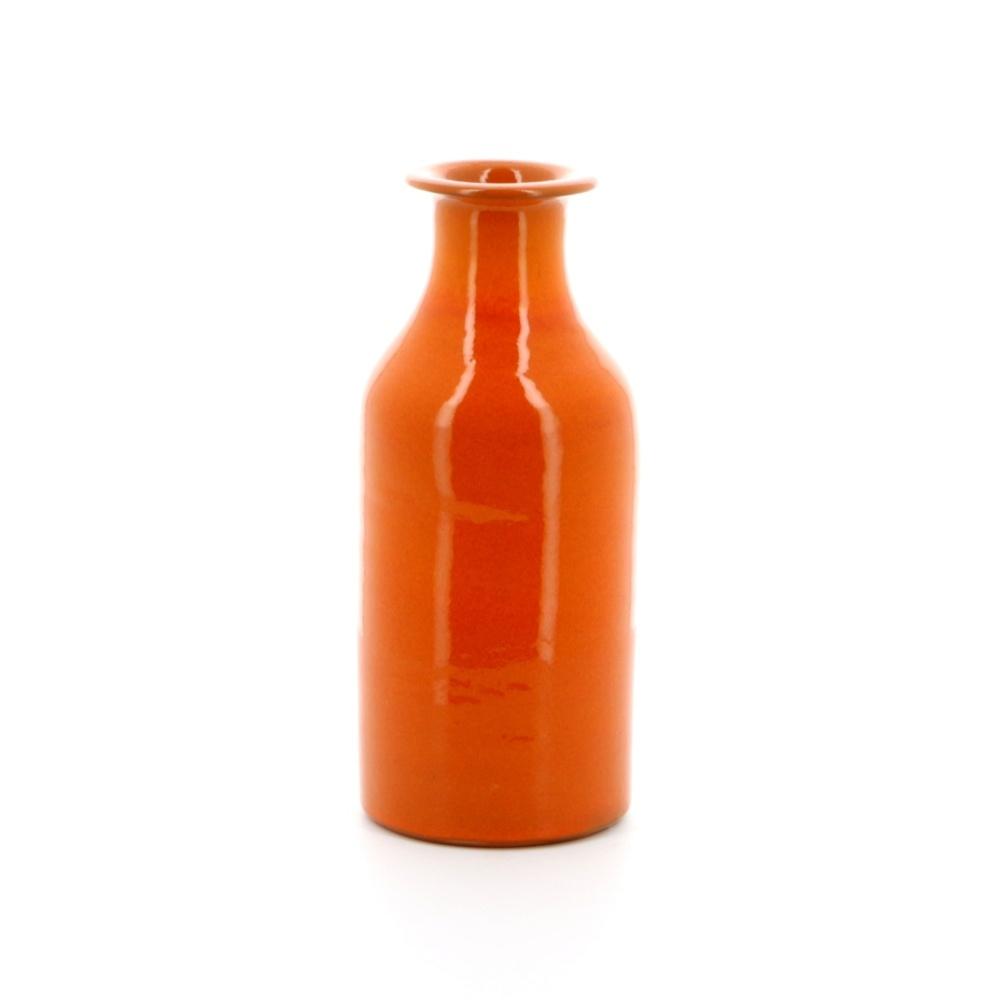 milk bottle shaped pottery vase orange