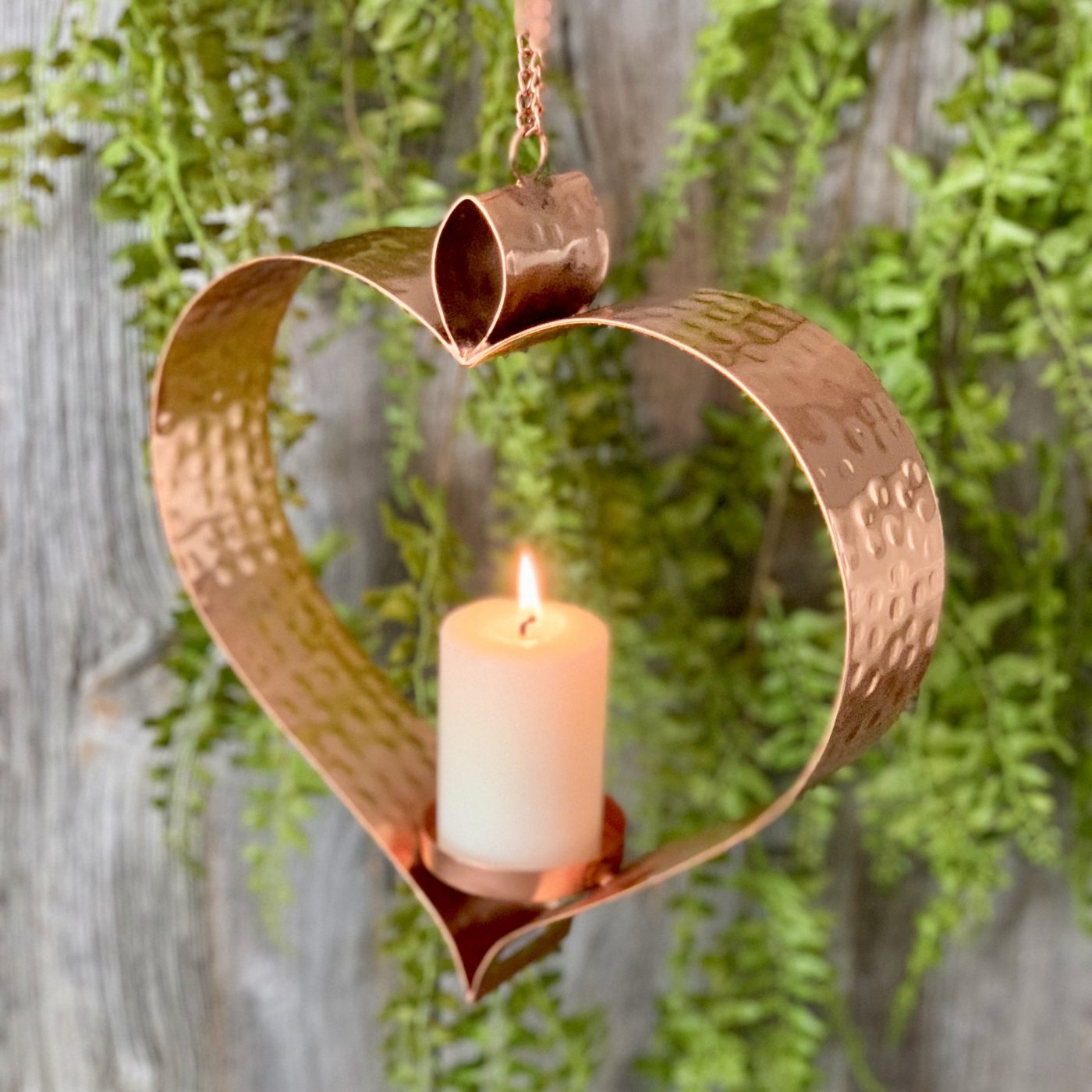 copper hanging heart candle holder