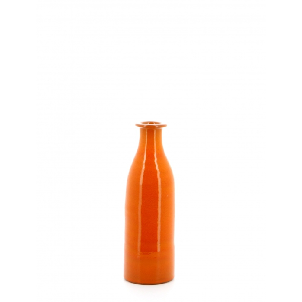 orange glazed milk bottle vase