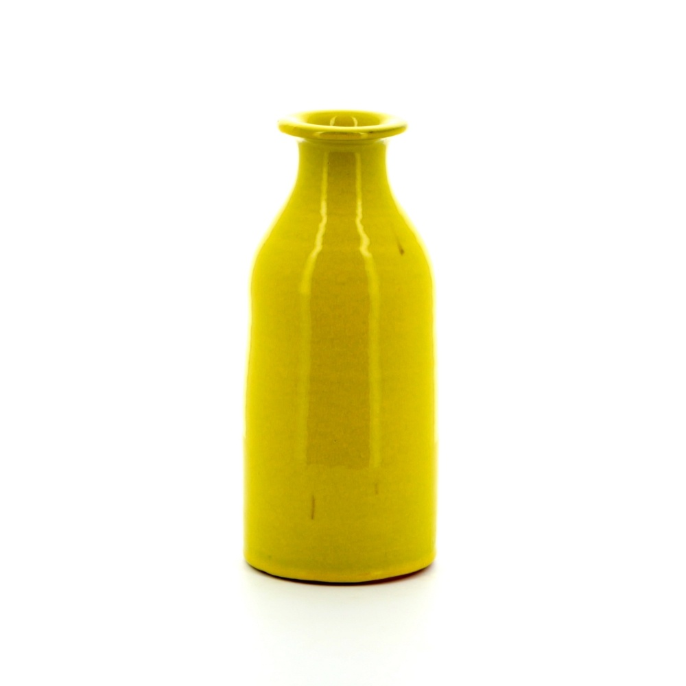Milk bottle shaped pottery vase yellow