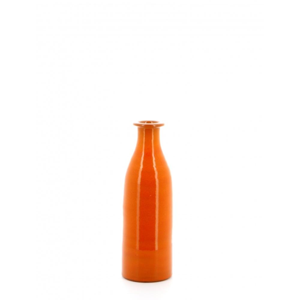 orange milk bottle vase