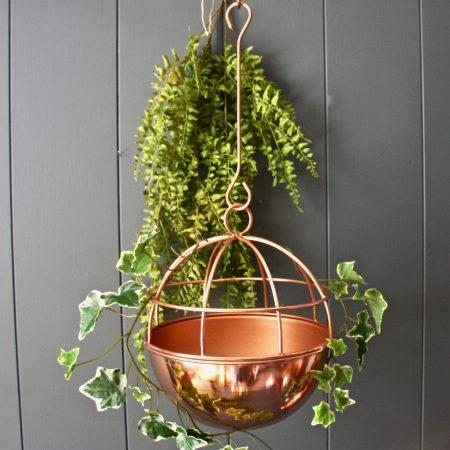 hanging globe copper planter