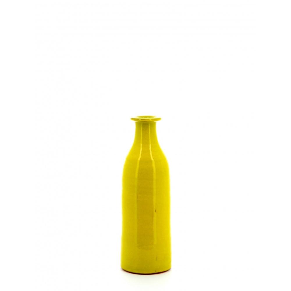 milk bottle shaped yellow pottery vase