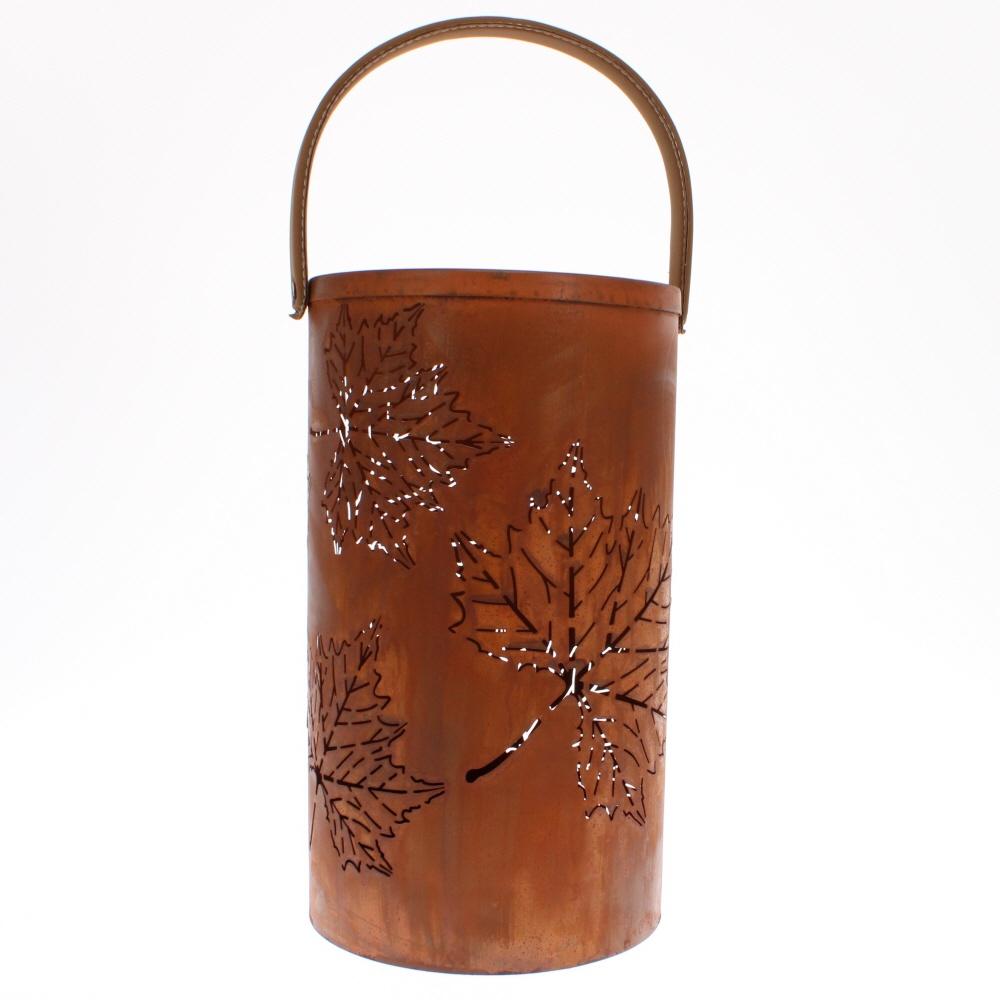 laser cut lantern rusty leaf with handle