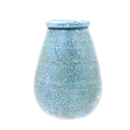 large blue rustic vase