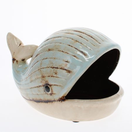ceramic whale dish angled view