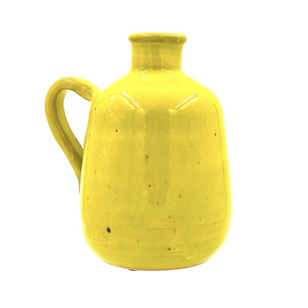 glazed yellow pitcher vase