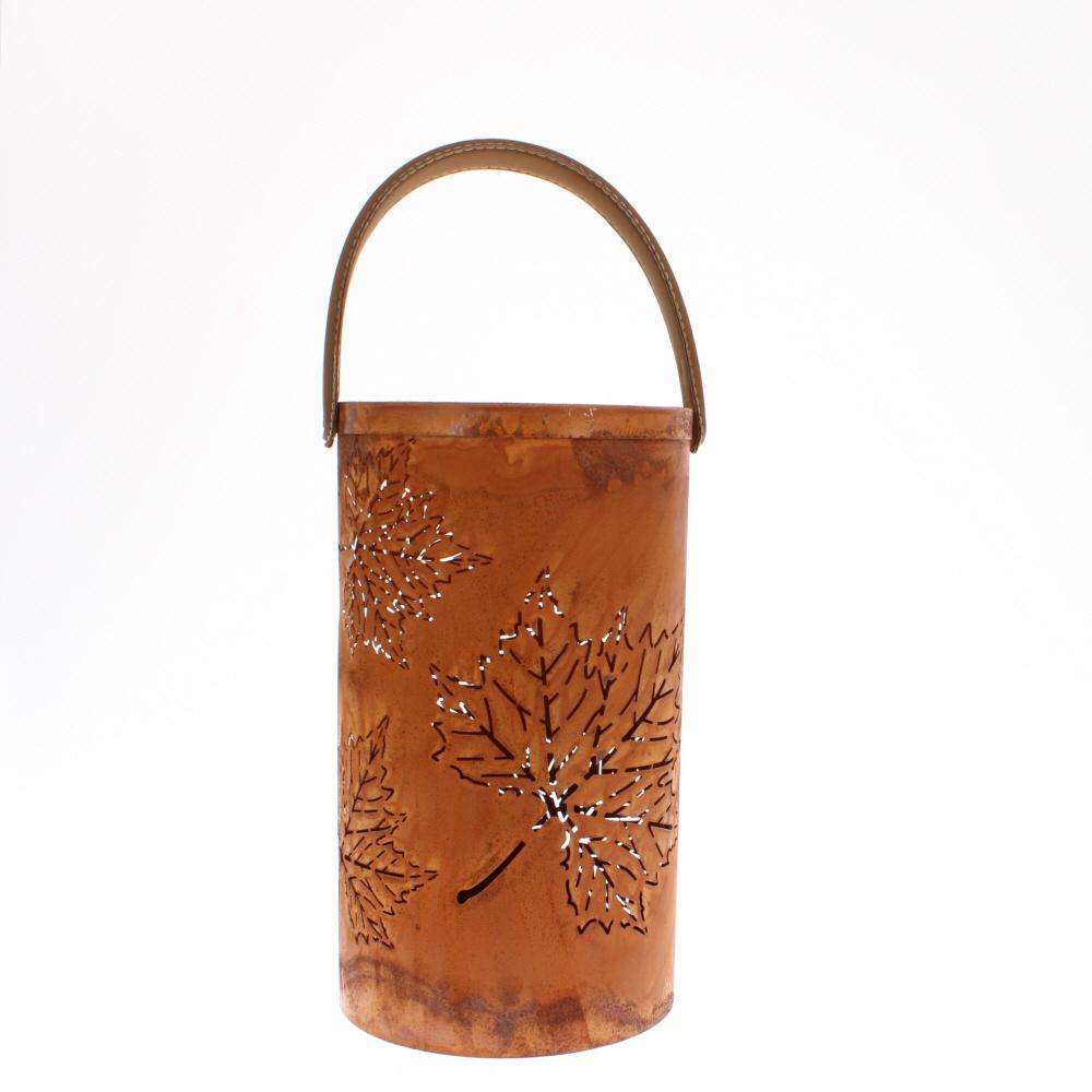 rusty leaf lantern with handle