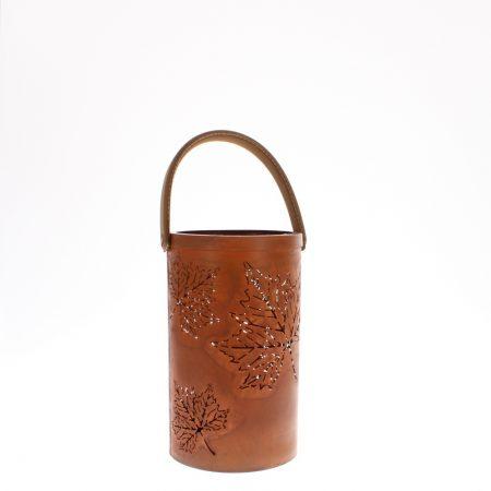 Candle lantern rust finish leaf laser cut design