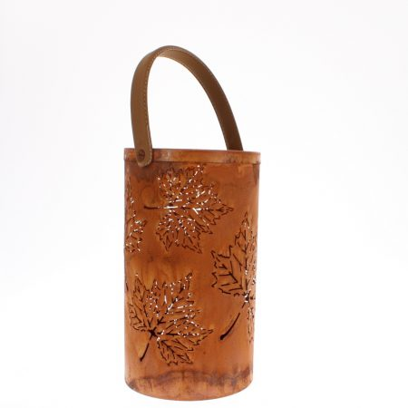 rusty leaf metal lantern with handle