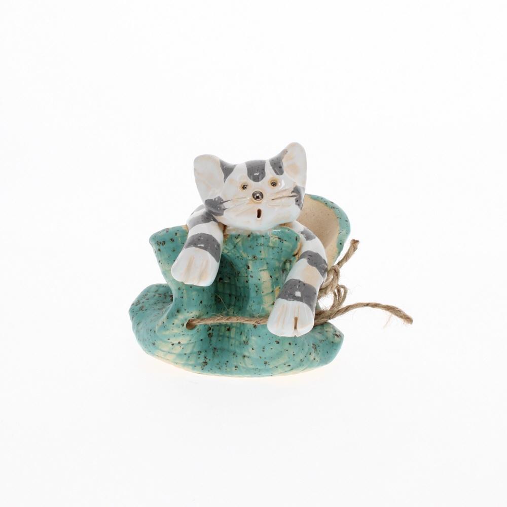 cat in a mint bag ornament