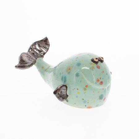mint glazed ceramic whale