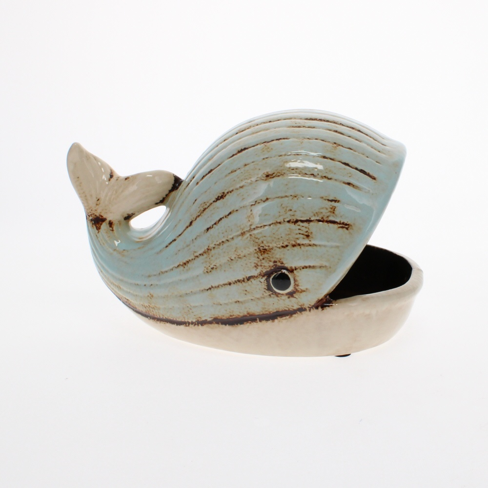ceramic whale dish side view