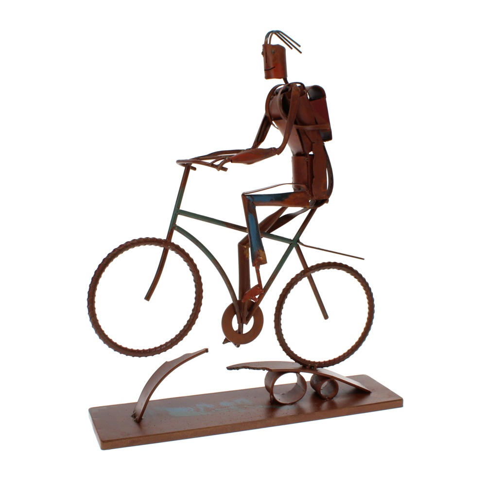 biker boy metal sculpture