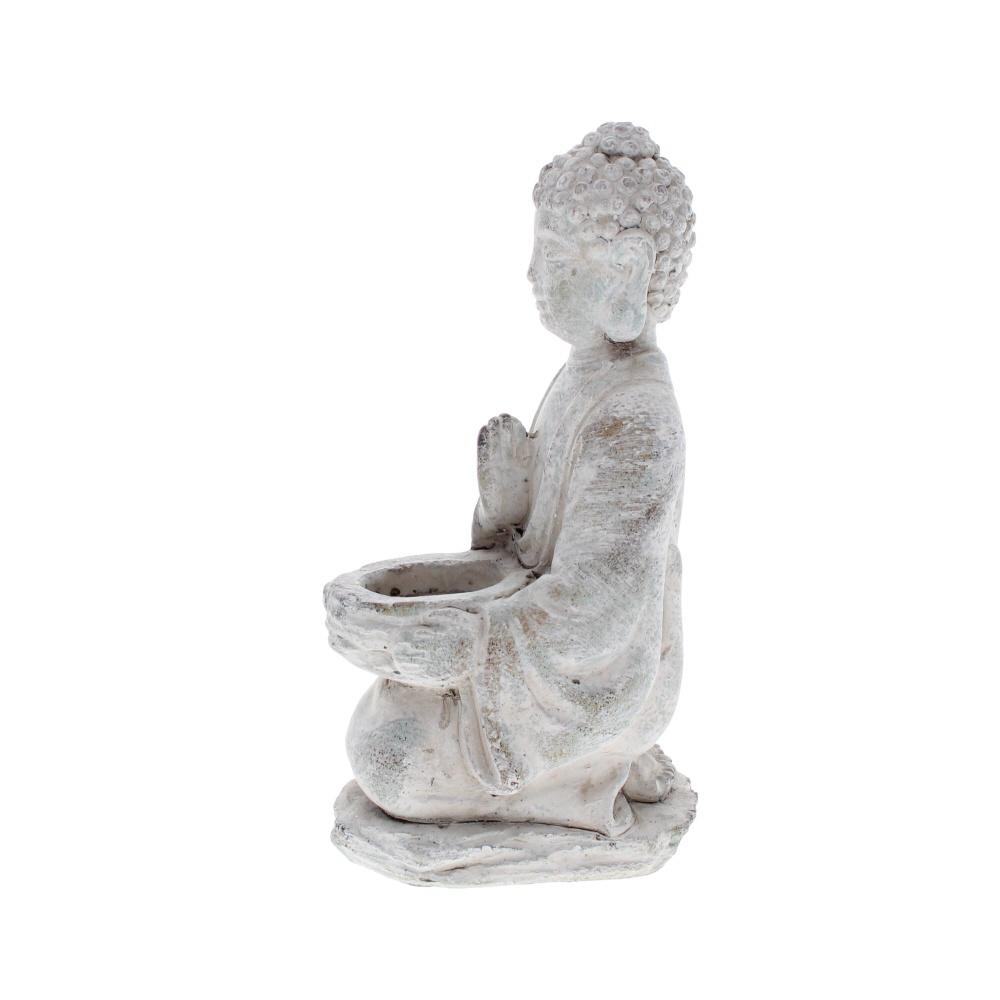 Blessing Buddha stone tea light holder side view