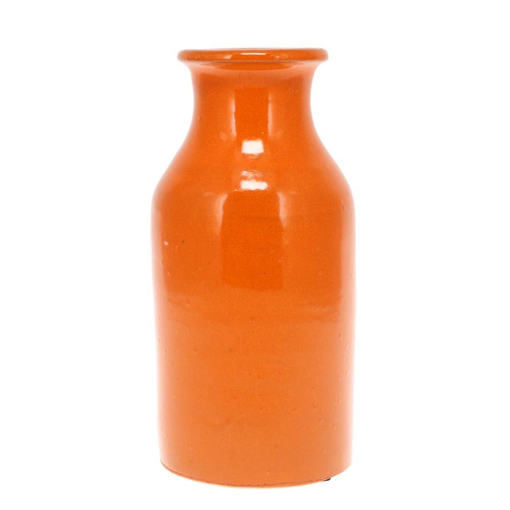 orange glazed vase milk bottle