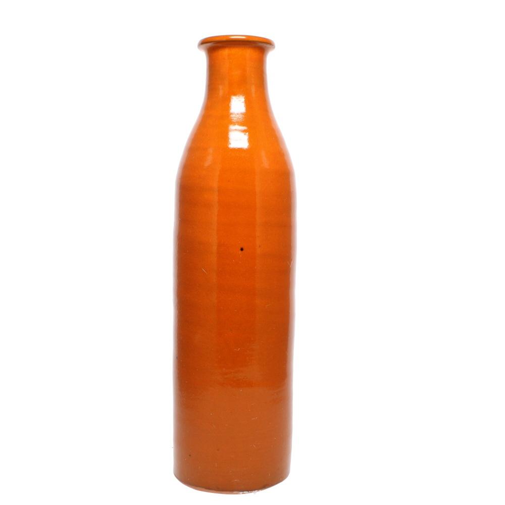 milk bottle vase orange glaze
