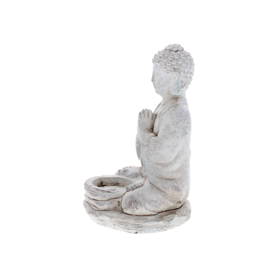 Praying Buddha stone tea light holder side view