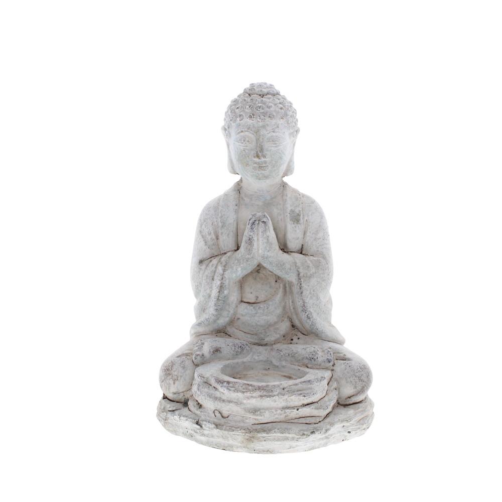 Praying Buddha stone tea light holder