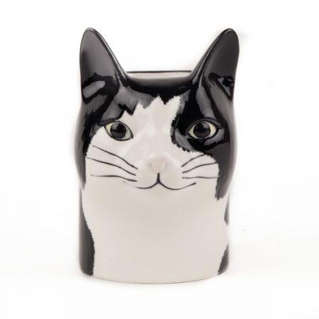 Black and white cat pencil pot
