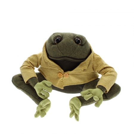 Frog material doorstop dressed in tweed jacket