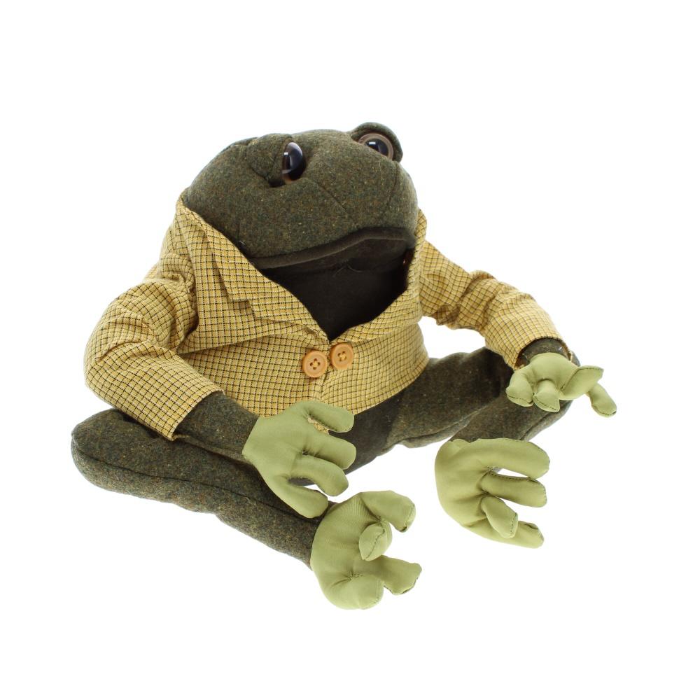 Frog material doorstop dressed in jacket side view